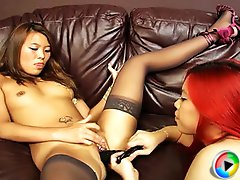 Kinky Asian slut  Jasmine Jade toys with Fuk Mi`s juicy Pussy