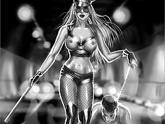 Fantasy and post-apocalyptic femdom fiction art with gorgeous dominatrixes schooling their obedient male slaves