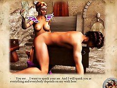 Fantastic story about domina training slaves in castle's dungeon 3D illustrated