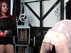 Jemstone punishing sub Simon and slapping penis with flogger