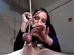 Domme forces slave to suck her toes