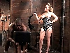 Blonde Dominatrix fucks African American Muscle boy`s Ass!