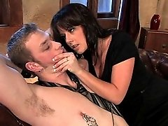 Beautiful Femdom Penny Flame fucks muscle boy in the ass
