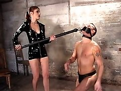 forced to eat her while he gets his dick clothes-pin slapped off